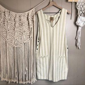Vintage tan striped cotton overall dress medium